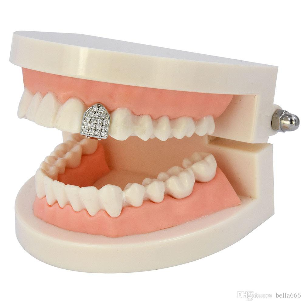 Women Men Gold Plated Inlay Micro Cubic Zircon Single Top Bottom Hiphop Dental Teeth Grillz Rapper Body Jewelry Accessories