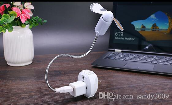 Portable Mini Bendable Flexible USB Fan Computer Notebook PC Colorful LED Light For Laptop Desktop PC Computer EOO