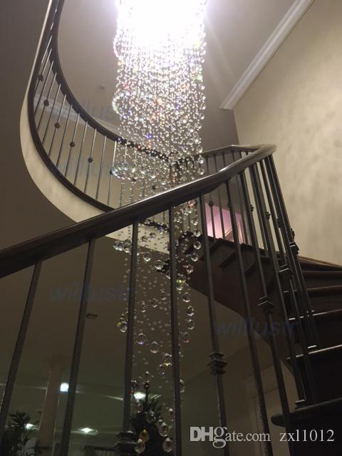 Lámparas de araña de cristal colgante espiral de cristal colgante de luz K9 araña de cristal LED lámpara de suspensión de iluminación del vestíbulo del hotel salón con04