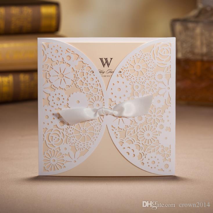Cheap Printed Wedding Invitations: Cheap Laser Cut Wedding Invitations Cards Sets With Bow