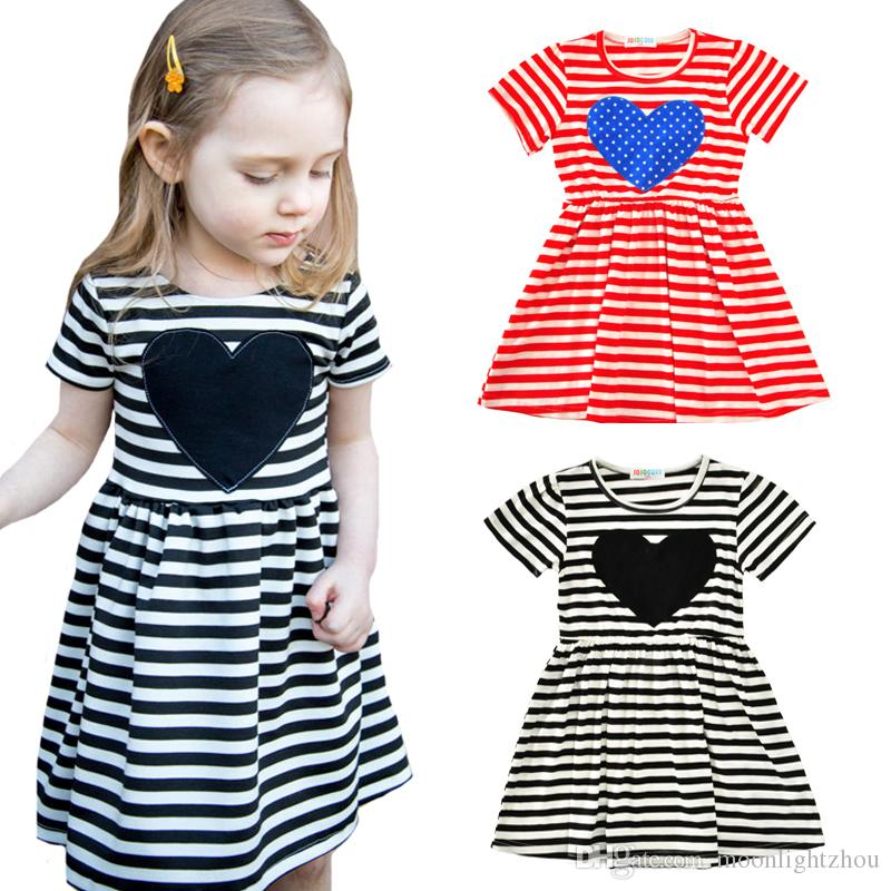 f8a710120dee 2019 Little Girls Dresses 2017 New Kawaii Heart Stars Baby Girl Clothes  Dresses Summer Style Black White Red Striped Children Dress Kids Costumes  From ...