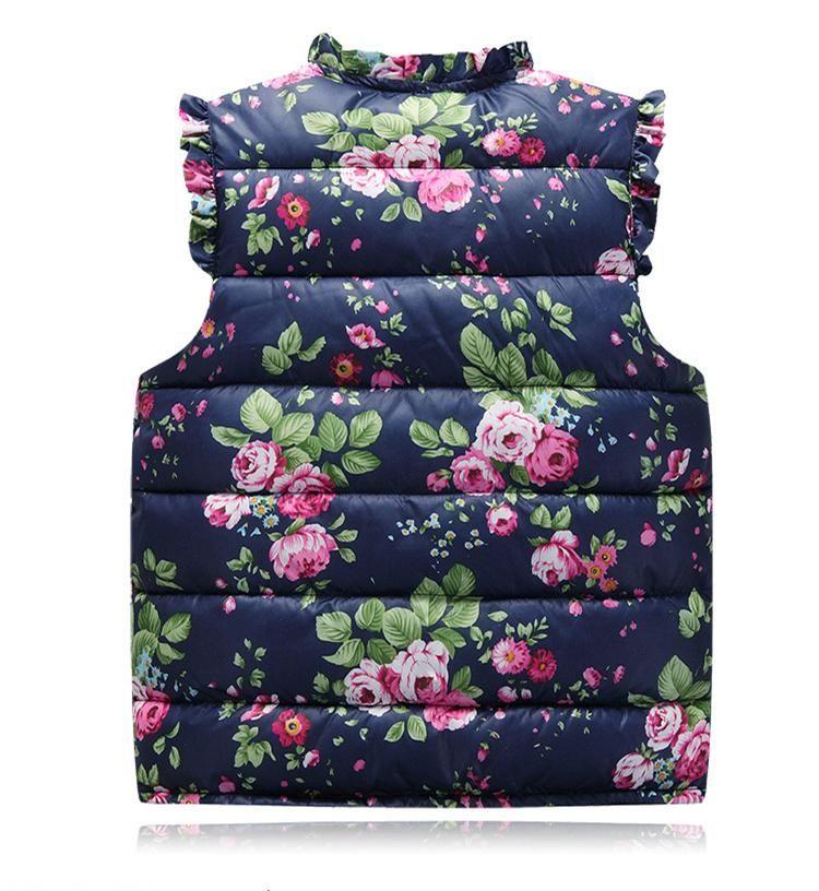 Baby Girls Floral Print Waistcoat 2017 Winter Kids Girls Graffiti Vests Coat Kids Girl Floral Print Jacket Children Outerwear Clothing S420