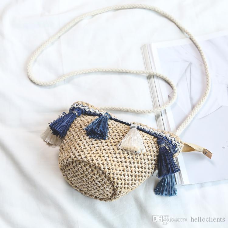 New summer pastoral national wind seaweed woven fashion bag small art retro bamboo handle female handbag Harajuku wind Satchel