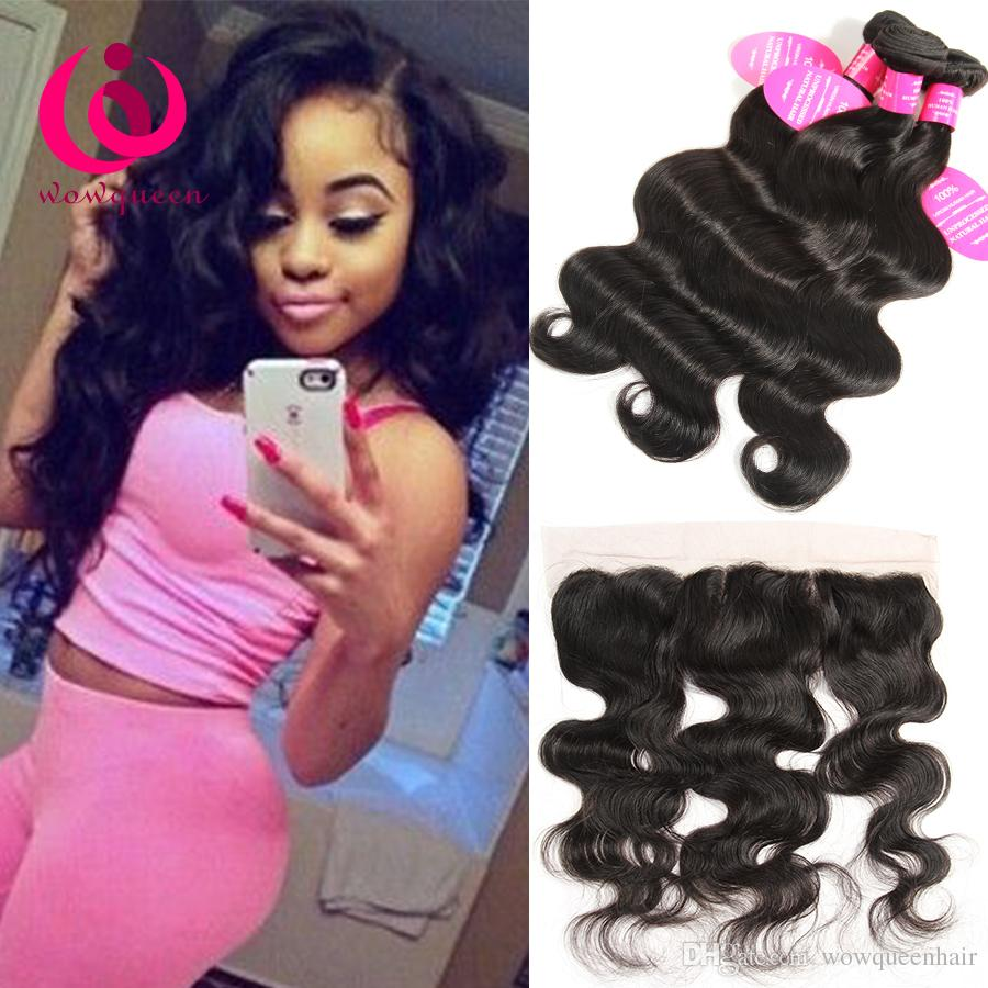 Raw Indian Hair Weave Body Wave Lace Frontal Closure With Bundles