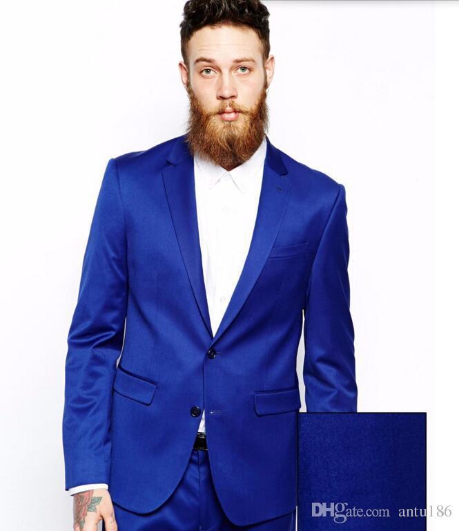Yeni Varış Damat takımları smokin Notch Yaka Damat Smokin takımları Kraliyet Mavi Erkekler Düğün Balo takımları ceket + pantolon