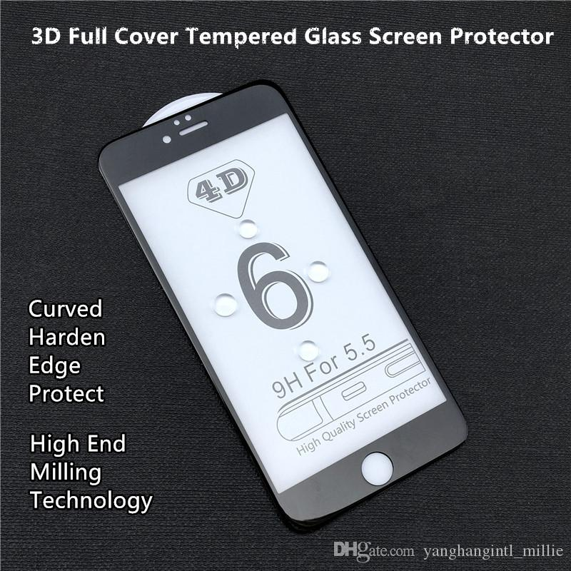 sneakers for cheap a1a9f cf2cb 3D Full Cover Harden Edge Tempered Glass Screen Protector For Iphone 6,6s,6  plus Full Screen White Black Color Protector Foam Pack--YH0254
