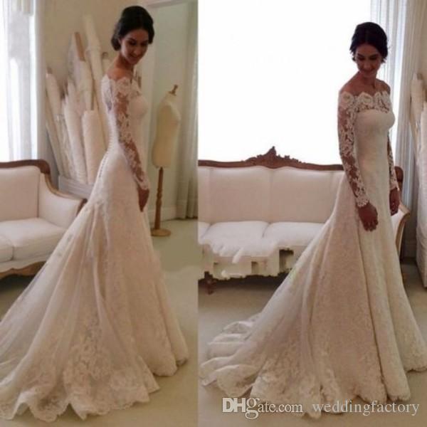 2019 robes de mariée en dentelle hors épaule appliques une ligne manches longues robes de mariée vintages avec boutons retour robes de mariée