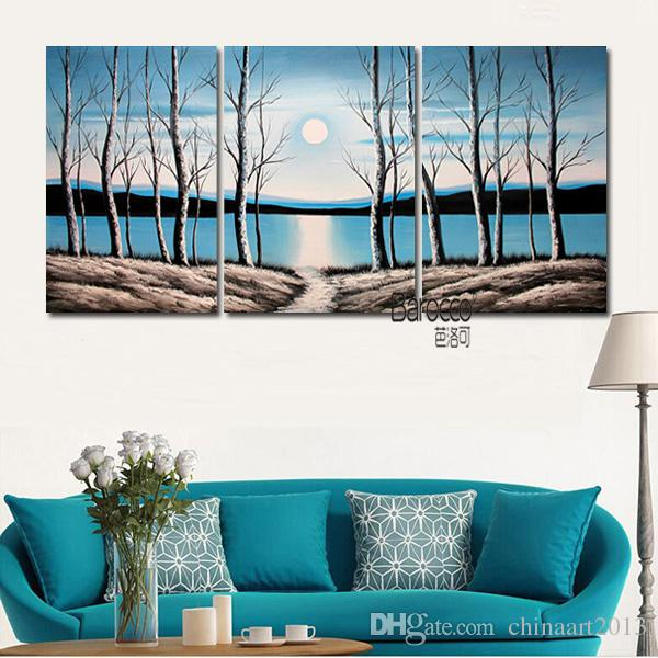Woods River Sun Winter Hand Painted Abstract Scenery Oil Painting Modern Wall Art Home Decoration