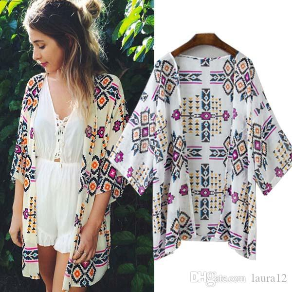 2018 2017 Hot Sale Printed Chiffon Beach Cardigans With Half ...