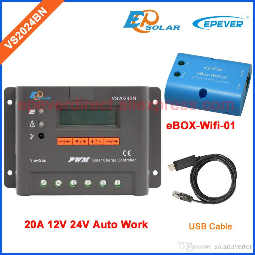 12v 24v automatic voltage work VS2024BN 20A 20amp solar controller battery charging USB cable and wifi function EPEVER