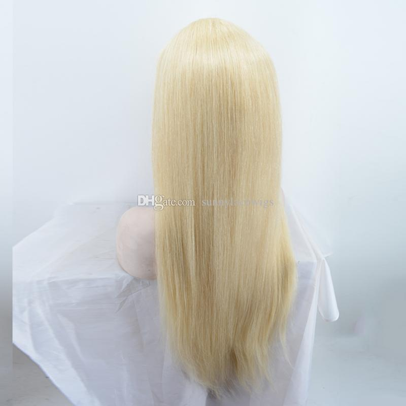Long blonde human hair straight wig with baby hair peruvian lace front wigs full lace human hair wig blond for black women