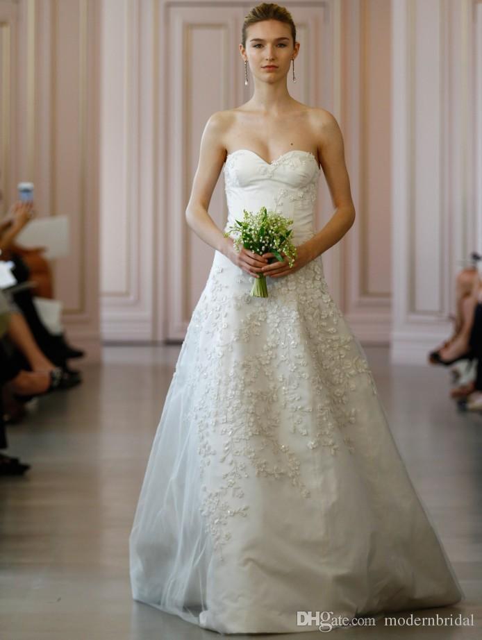 3d Floral Appliques Tulle Overlay Wedding Dresses 2017 Oscar De La ...