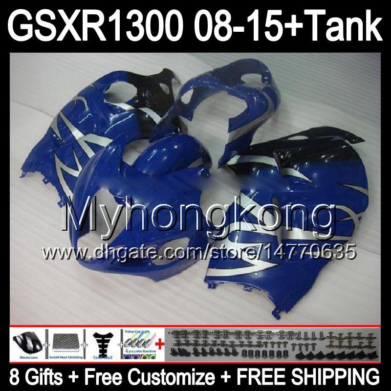 8gifts для Suzuki Хаябуса GSXR1300 08 15 GSXR-1300 серебристый пламя 14MY83 GSXR 1300 системы GSX Р1300 08 09 10 11 12 13 14 15 обтекателя черный глянец комплект