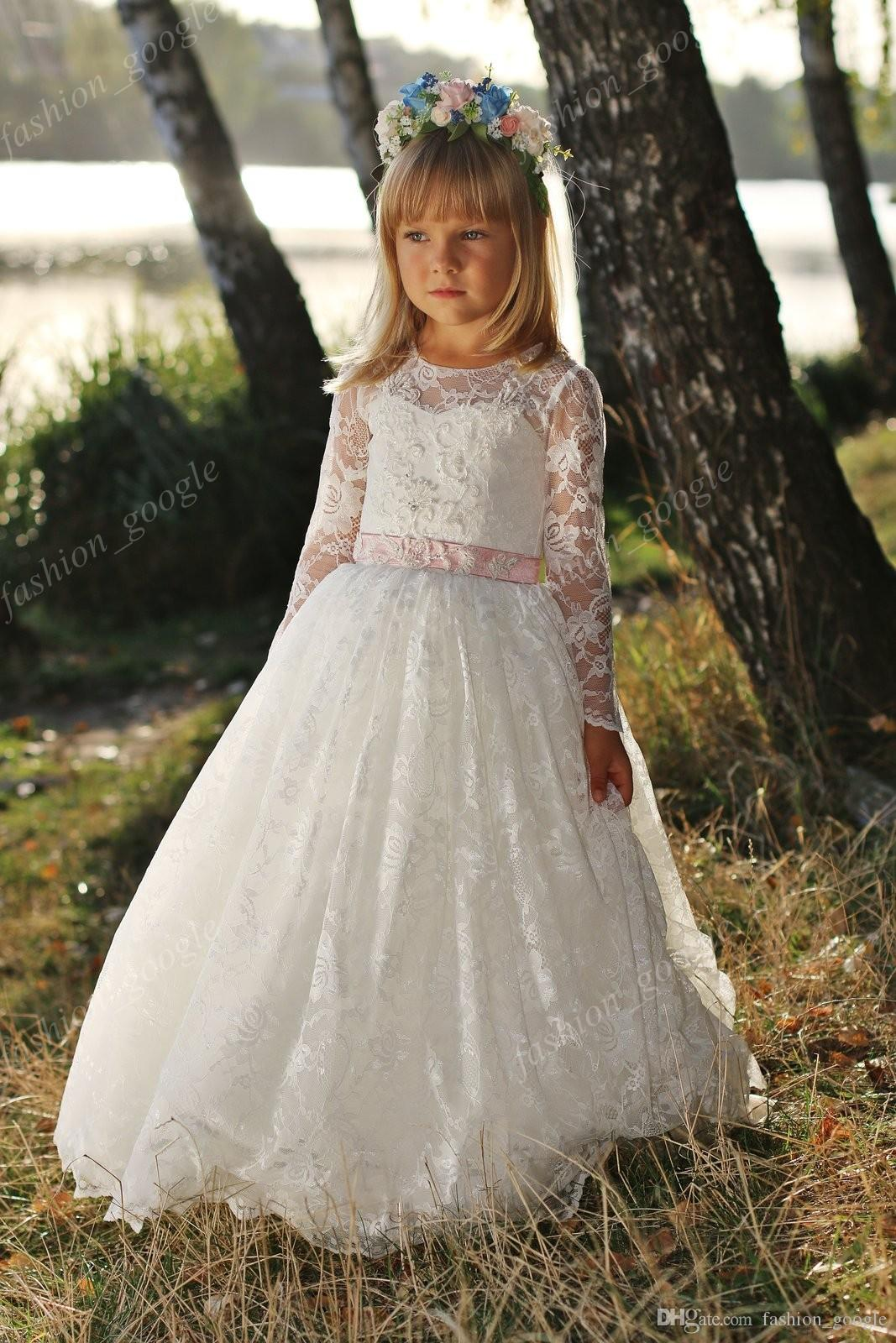 Fully Lace 1st Communion Dresses for Little Girls 2018 with Long Sleeves & Pink Sash Elegant Mother Daughter Wedding Dress for Flower Girls