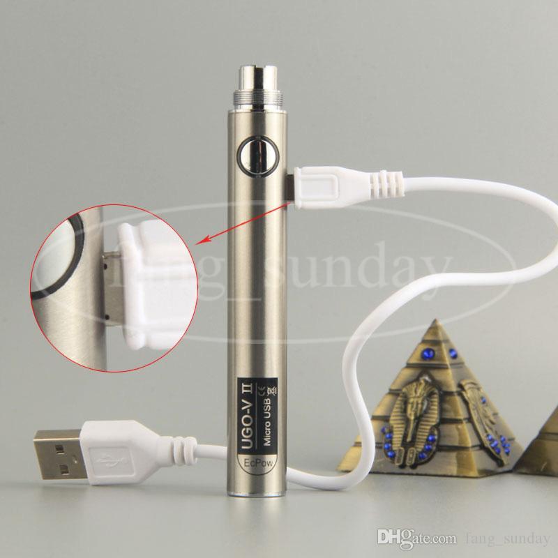 Ecpow UGO V II 650 900 мАч Micro USB eGo T Vape Pen Зарядное устройство для 510 резьбы Evod металлический толстый масляный картридж