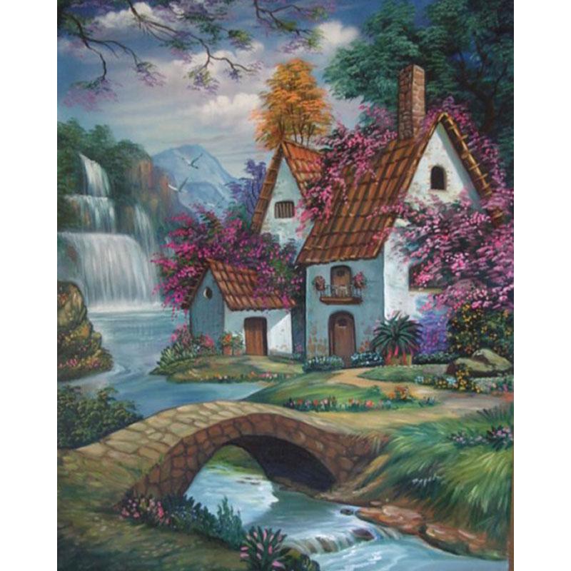 Satın Al Lakeside Cottage Manzara Diy Tam Matkap Elmas Boyama 5d