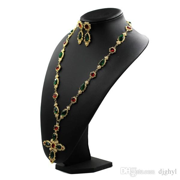 New famous design Austrian crystal Metal chain colorful stone pearl cross long sweater necklace vintage baroque necklaces