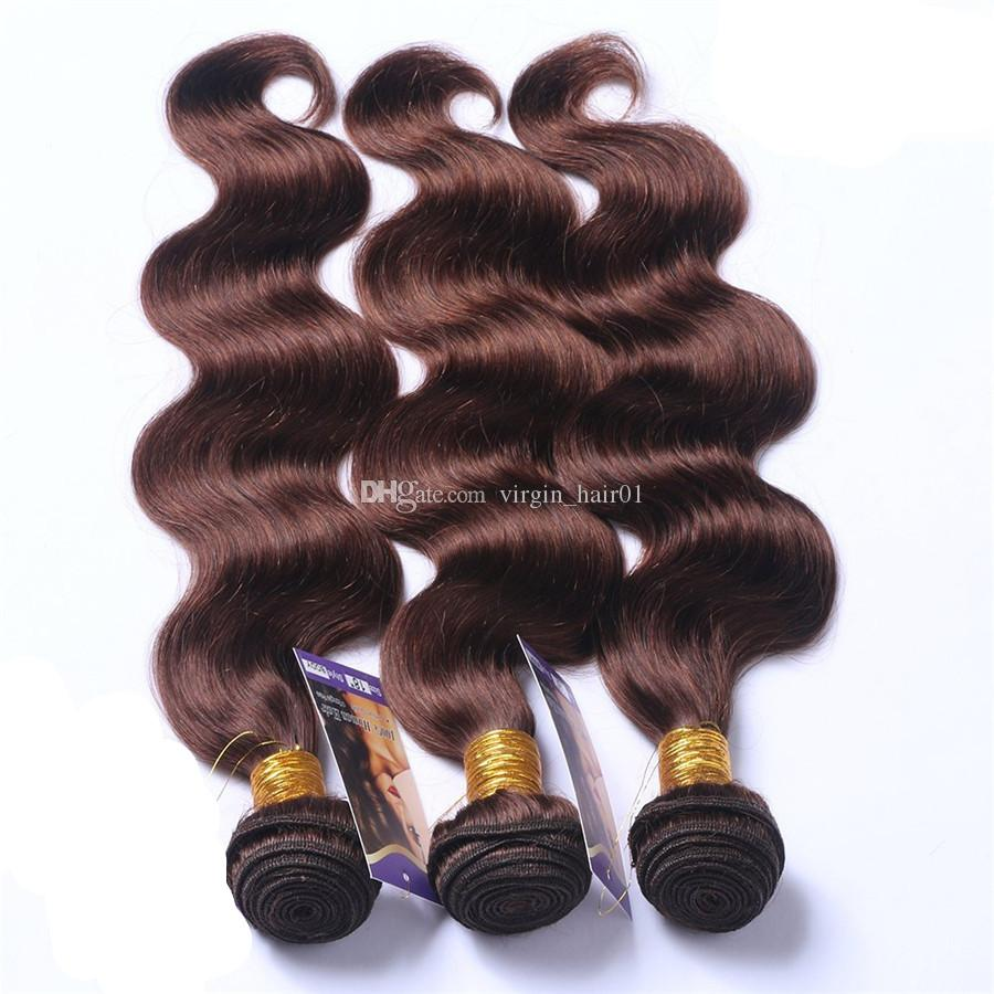Malaysian Human Hair Bundles #2 Dark Brown Body Wave Virgin Hair Wefts Chocolate Colored Body Wave Hair Extensions Macho Colored
