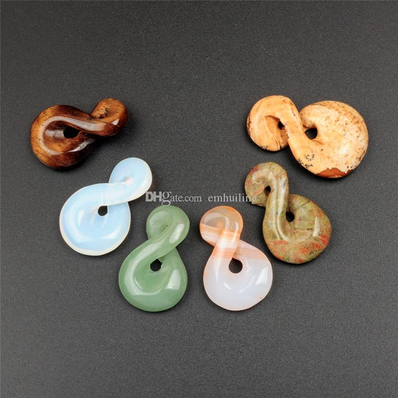 One Direction Infinity Knot Charms Pendant Connector Link in Mix Natural Stone Agate Beads Green Aventurine Picture Jasper Best Gift for Her