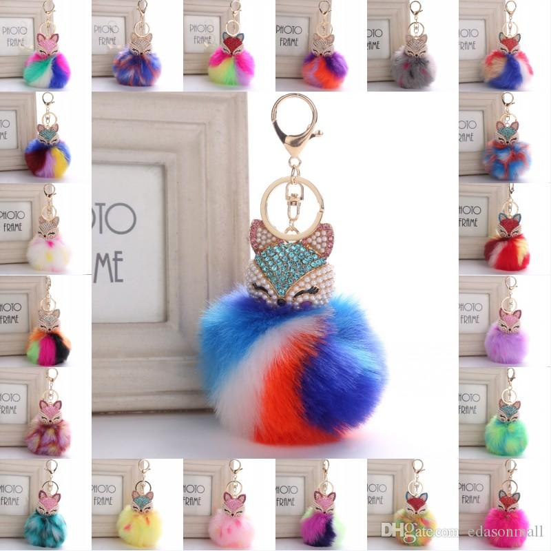 Cute Key chain Fox Rainbow Color Pom Pom Fur Ball Rhinestone Keychain Bag  Car Ring Keyring Fluffy Keychain Girl Gift B763S 0ffb9be7d