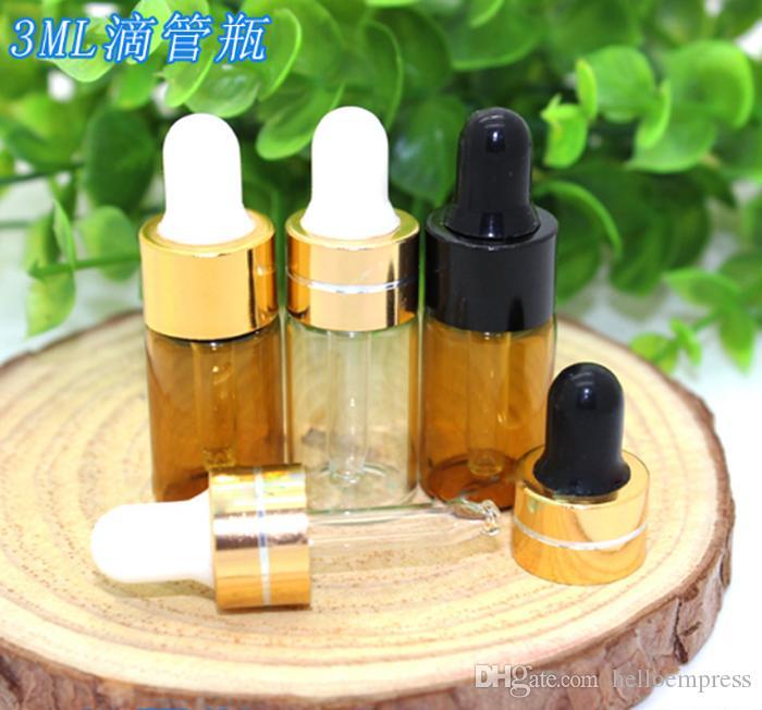 Großhandel 1000 teile / los 3 ml Klar Bernstein Glastropfflasche Mini Ätherisches Öl Flasche Tiny Glasfläschchen 4 Farben Kappe Kostenloser Versand