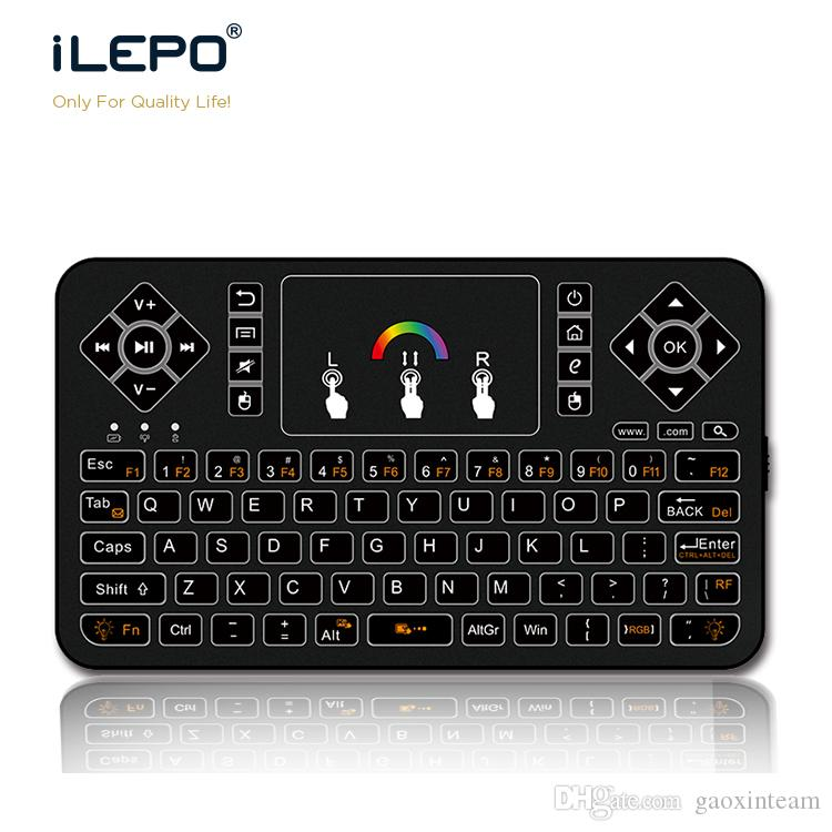 7 Color Backlight Keyboard With Multi-Touch Q9 Wireless Air Mouse Built-in  Lithium Battery Mini Air Mouse Keyboard for Android TV Box