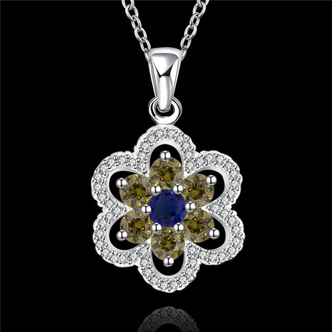 best gift Blue Diamond Flower sterling silver plated jewelry necklace for women WN554,nice 925 silver Pendant Necklaces with chain