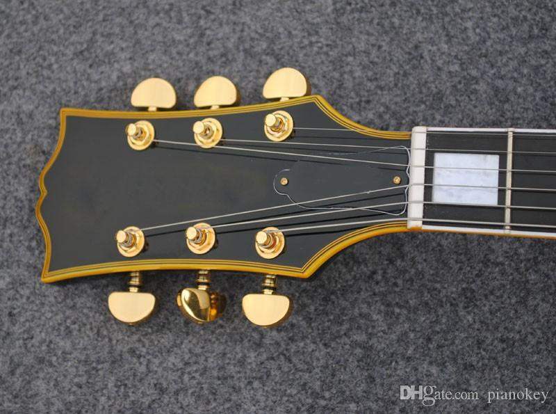 Custom guitar store,black gloss finish ebony fretboard and fret binding jazz electric guitars made in China