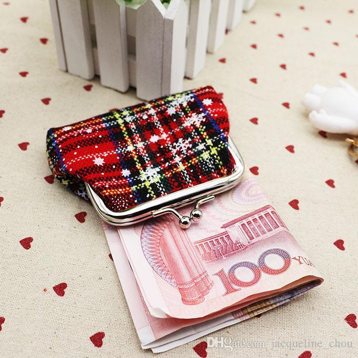 Chrismas hediye mini sikke çanta anahtar cüzdan moda kar tuval kadın çanta 9 * 7 cm ekose sikke çanta toptan lqb-005
