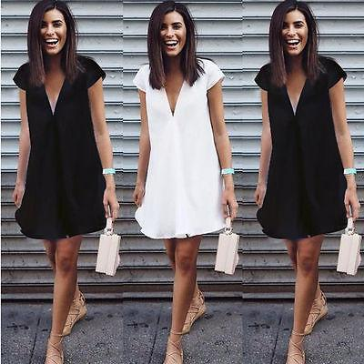 Summer women dresses sexy V-neck 2018 Black White dress Casual Short sleeve mini Shirt Dress New Fashion mini dress for women