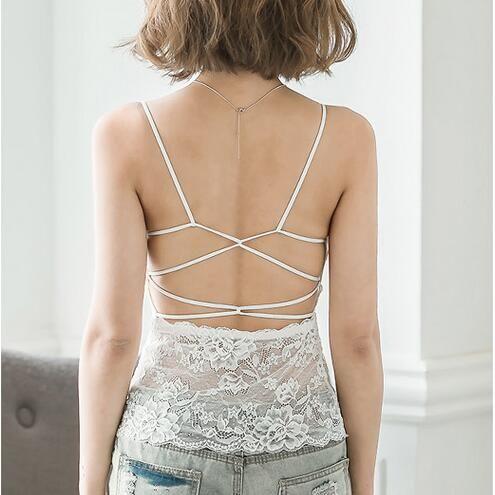 Neue Mode Frauen Sexy Spitze Camis Top Backless Kreuzgurt Tank Top Casual Spaghetti Ärmelloses Träger Weste KL610