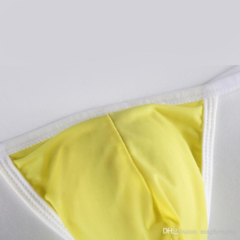 Wholesale men's ice silk mini micro bikini Briefs Hipster penis pouch thongs g strings tangas T back panties low waist mens gay underwear