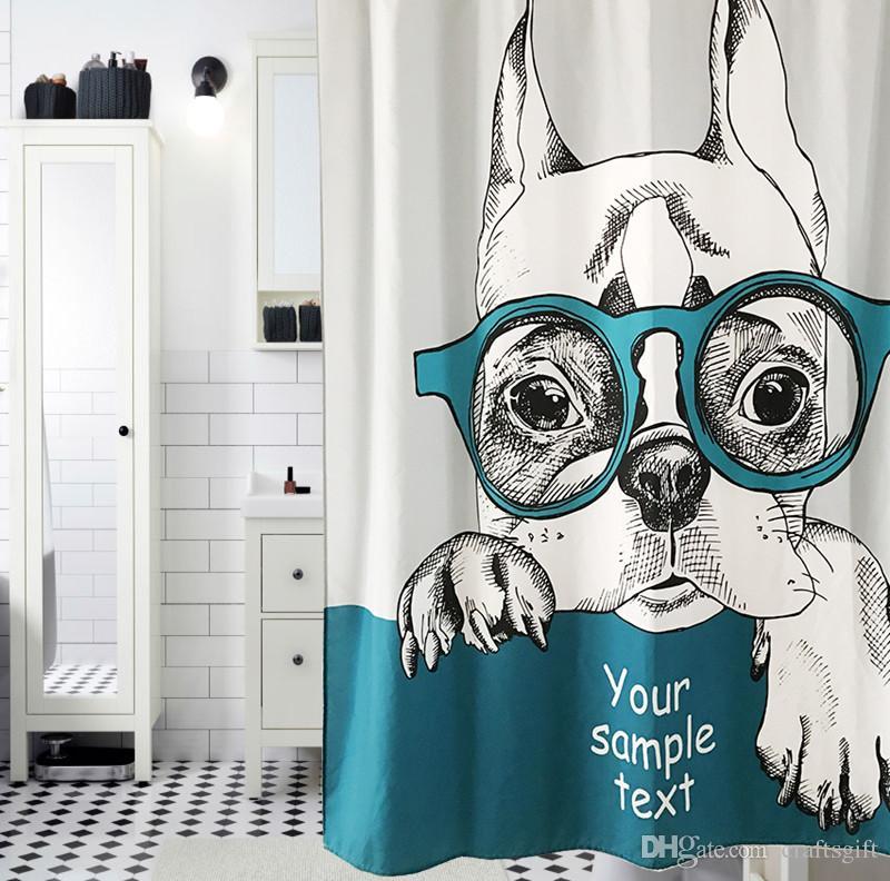 2017 Pet Dogs Shower Curtain Art Cartoon Animal Puppy Bathroom Shower  Curtain Waterproof Polyester Fabric Custom Bathroom Curtains With Hooks  From ...