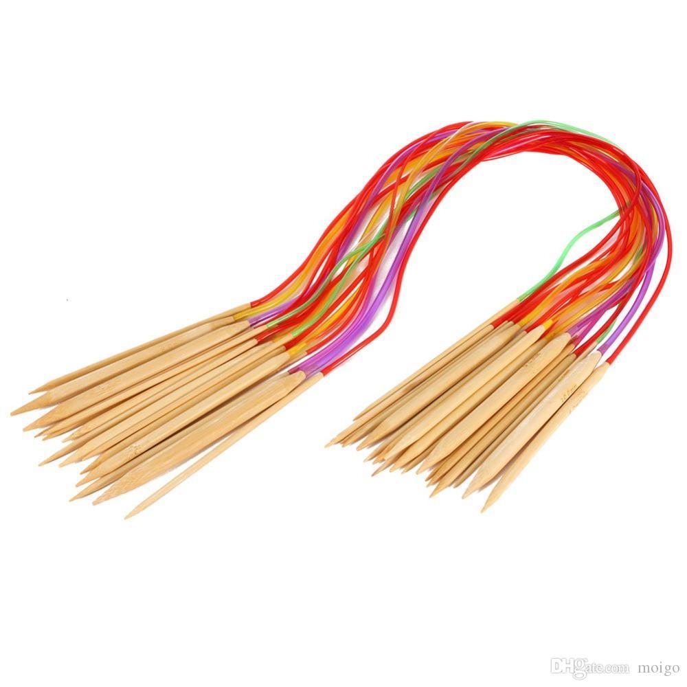 Strumenti maglieria multicolore / set Smooth Nature Circular Bamboo Carbonized Knitting Needles Artigianato Set di strumenti filati