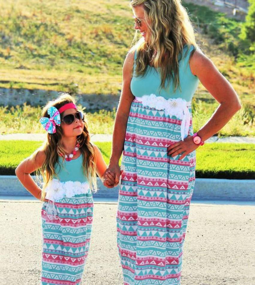 Plus Size Mother and Daughter Matching Dress Spring Striped Cotton Mother and Daughter Clothes Long Sleeve Lace Dress Family Clothing