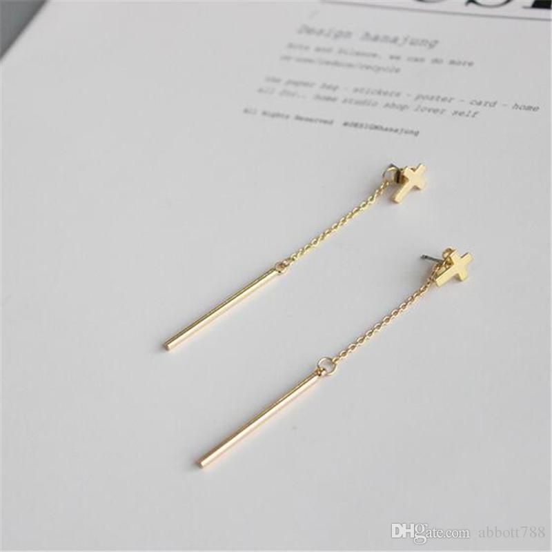 Chapado en plata de oro europeo cadena larga barra colgante cruz pendientes laterales dobles para las mujeres joyería de moda cuelga los pendientes DH82