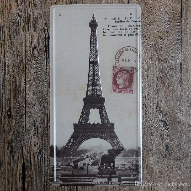 Effiel Tower Paris Vintage Embossed Metal Tin Signs Garage Car Plate