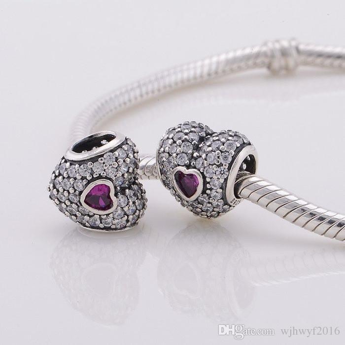 New 925 sterling silver sterling pave cristallo amore cuori charms fai da te gioielli la produzione di gioielli fai da te adatti famosi braccialetti di fascino fai da te design BF231