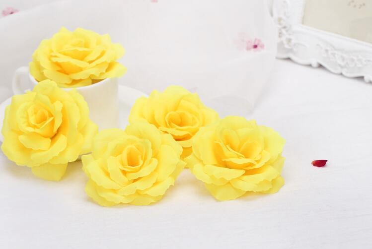 8 cm de diâmetro cabeça de flor Artificial, alta Simulação De Seda Rosa Flor, 16 Cores Assorted Cabeça De Flor, 100 pçs / lote