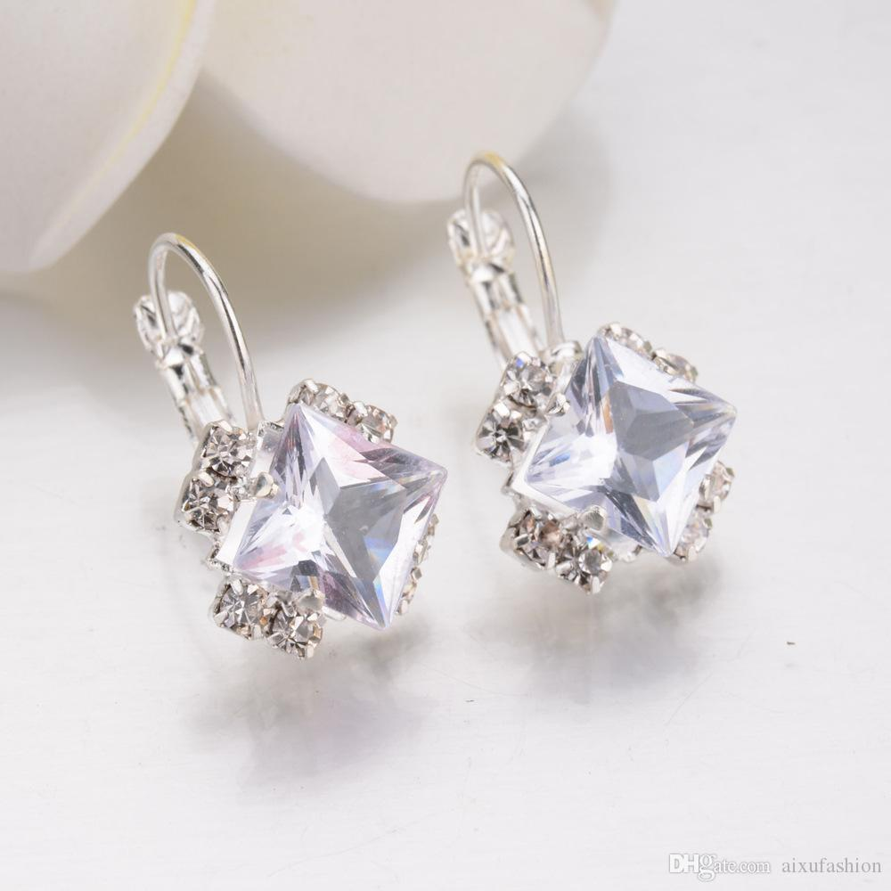 Geometric Square Austrian Crystal Hoop Earrings Vintage Silver Statement Earrings For Women Cheap Small Boho Brincos 2018