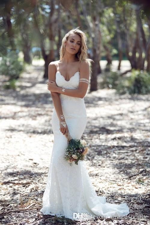 2019 country sexy trompete sem encosto vestidos de noiva espaguete cinta cheia vestido de noiva de renda barato sereia varrer de volta boho vestido nupcial