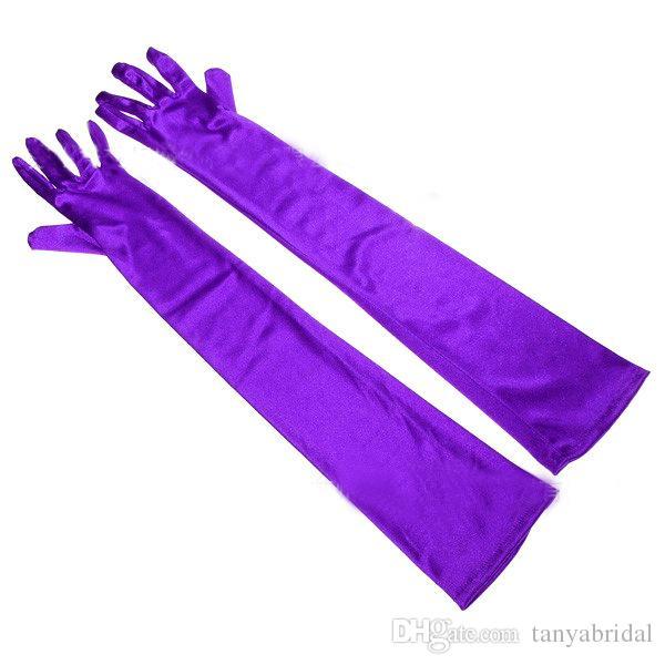На складе Бесплатная доставка красочные выше локтя длина свадебные перчатки полный палец Опера длина атласные длинные свадебные перчатки