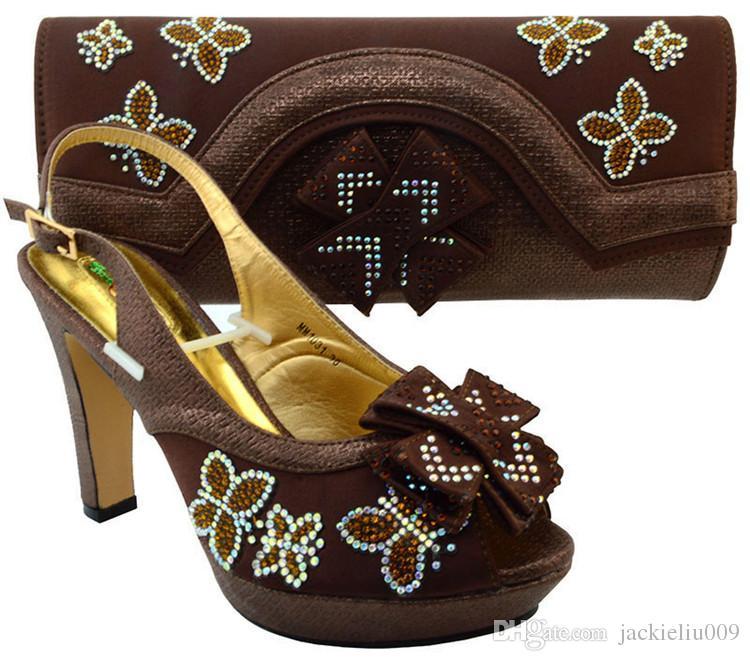 Maravilhosa prata sapatos africanos jogo saco conjunto com strass senhora sapatos bowtie e bolsa MM1031, calcanhar 11.5 CM