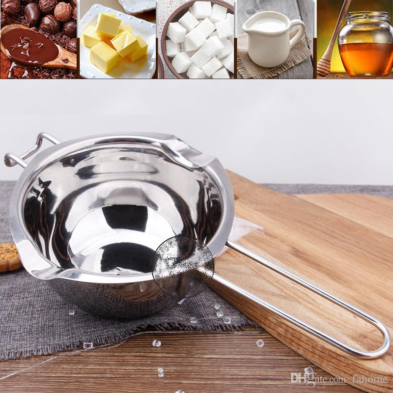 304 Stainless Steel Chocolate Melting Pot Butter Milk Pouring Bowl Kitchen Bakery Baking Mixing Tools Helper Gadgets Bakeware