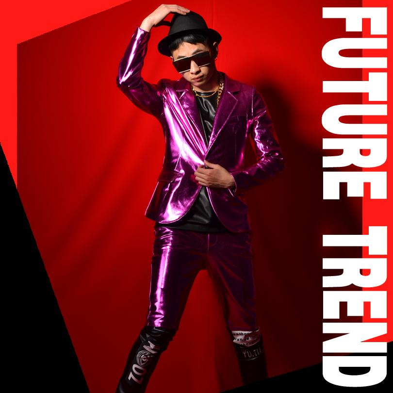 Purple PU Leather Men's Suits Solid Color Jacket Slim Pants Sets Nightclub Bar Male Singer Stage Outfit Punk Rock Dancer Performance Costume