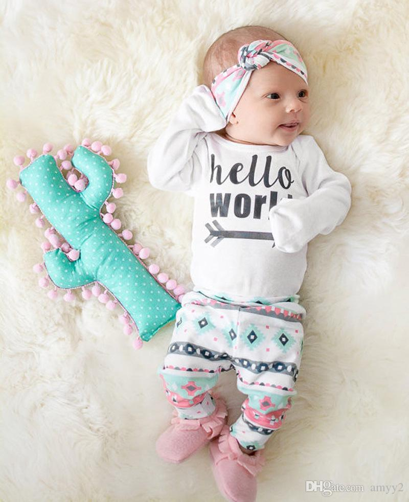 dd748d82a7a3 Baby Sets   Girl Outfits   Romper + Pants + Headbands   Hello World ...