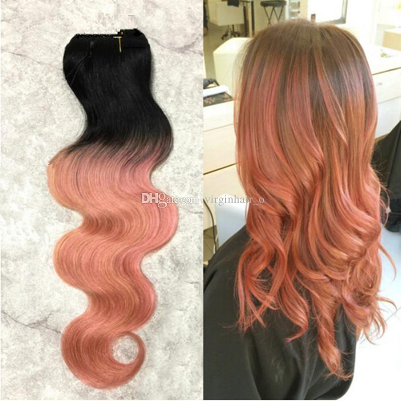9a Ombre Hair Extensions 1b Rose Gold Ombre Malaysian Virgin Human