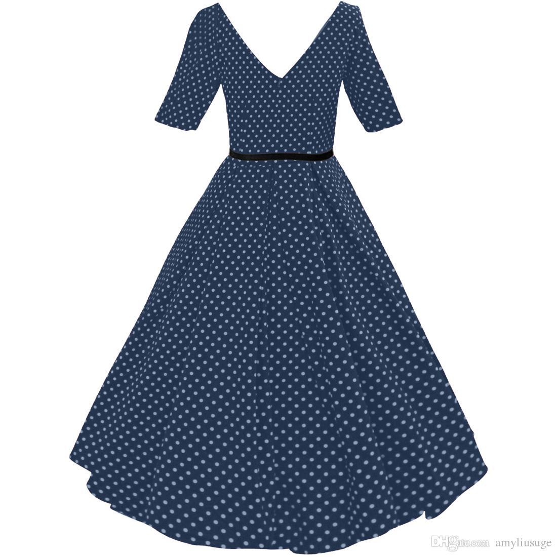 Womens 1950s Rockabilly Vintage Audrey Hepburn Polka Dot Swing Skaters Wedding Guests Party Dresses FYV075