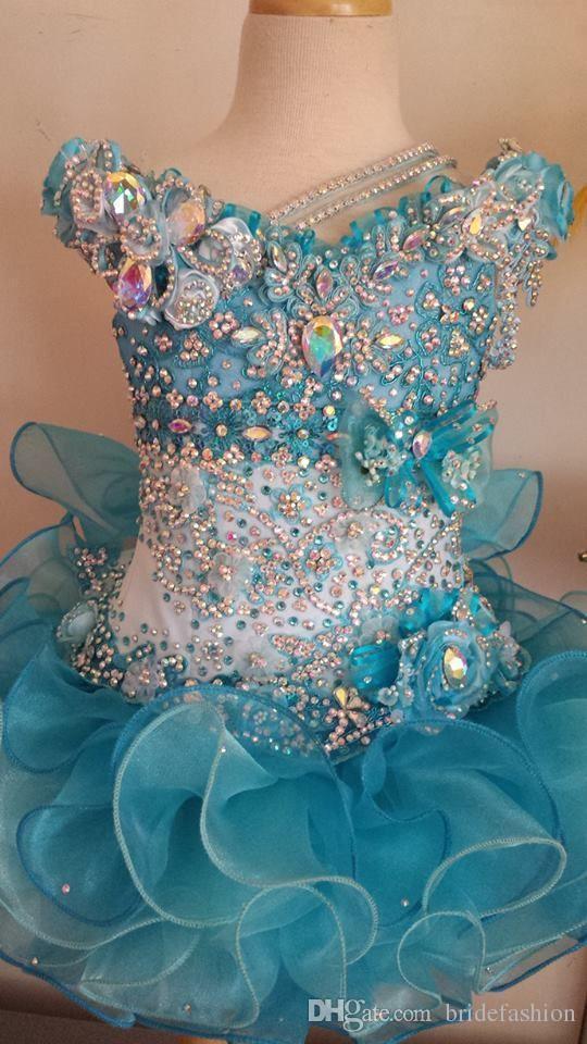 2017 Venta Caliente de Cristal de Lentejuelas Lentejuelas Ruffle Cap Manga Azul Niñas Vestidos Vestidos de Princesa Vestido de Bola Vestido de Niña de Flores Exquisito barato