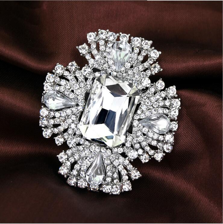 Top Luxury Clear Rhinestone Crystal Brooches Big Diamond Glass Fashion Full Rhinestone Flower Brooch Pins Bridal Wedding Corsage Jewley